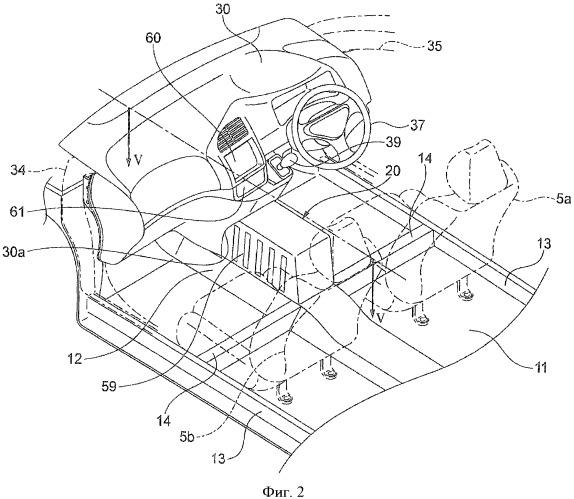 Конструкция для размещения автомобильного электронного компонента для электрического двигателя, приводящего в движение автомобиль