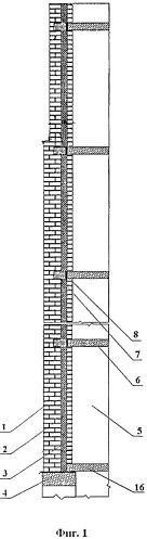 Ограждающая стеновая конструкция 17-этажного крупнопанельного жилого дома с самонесущей наружной стеной и навесной внутренней и способ ее возведения