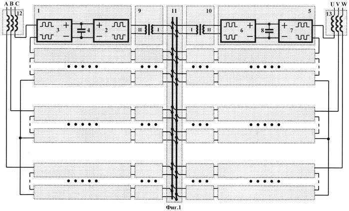 Способ распределения мощности в многоуровневом преобразователе частоты для питания синхронных и асинхронных двигателей