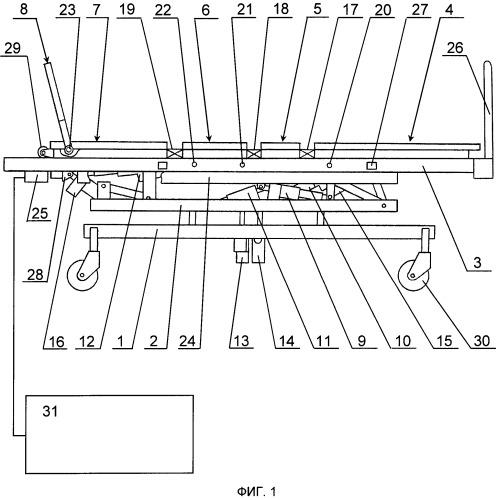 Реабилитационная кинетическая система для обездвиженных больных и устройство для управления системой