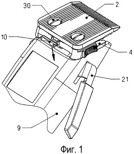 Машинка для стрижки волос со сменным режущим комплектом и устройством для регулирования длины срезания