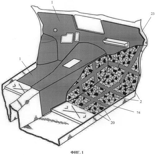 Модифицированная слоистая акустическая структура обивки кузова автотранспортного средства