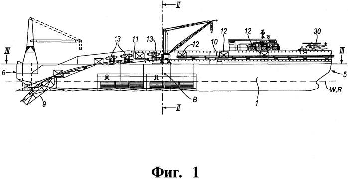 Однокорпусное судно для укладки трубопровода (варианты) и способ укладки трубопровода с однокорпусного судна (варианты)