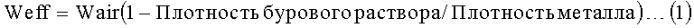 Определение нейтральной точки буровой колонны на основании гидравлического фактора
