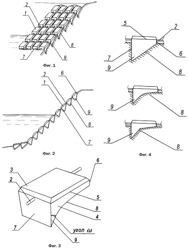 Гибкое бетонное покрытие для защиты берегового откоса или склона