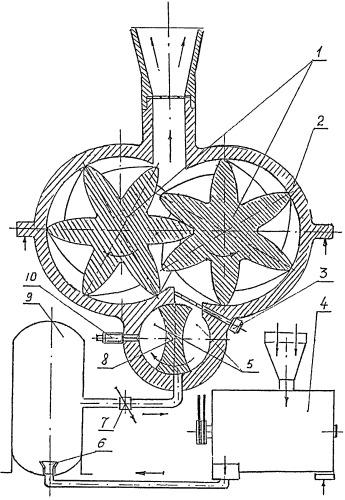 Роторно-компрессорный однотактный двигатель внутреннего сгорания