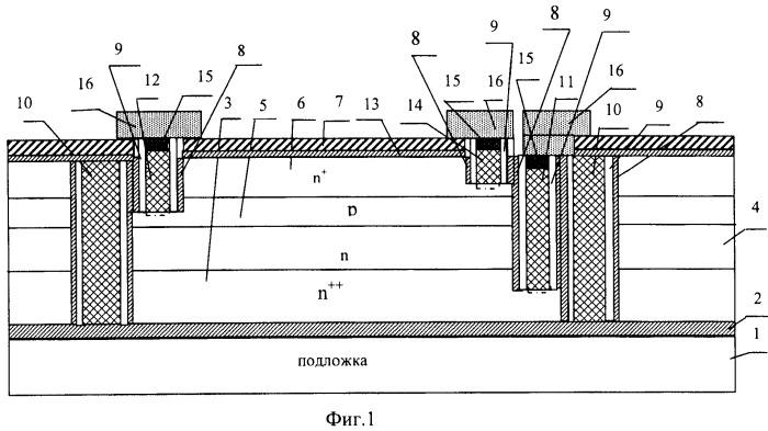 Самосовмещенный высоковольтный интегральный транзистор