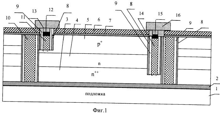 Высоковольтный самосовмещенный интегральный диод