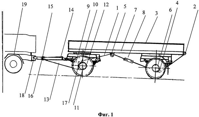 Тросопневматическое тягово-догружающее устройство прицепных систем колесных автопоездов