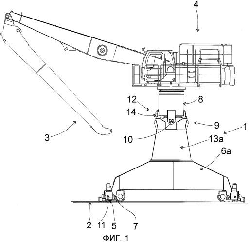 Погрузочно-разгрузочное устройство или кран, содержащий опорную раму с рельсовыми колесами