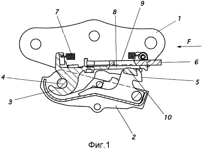 Безопасное крепление для быстрого соединения, предназначенное для установки инструмента на конце стрелы гидравлического экскаватора или аналогичного ему