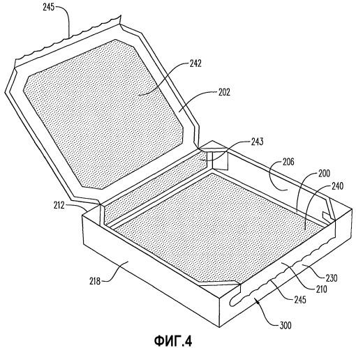 Коробка для использования в свч печи, имеющая множество сосредоточенных поглотителей