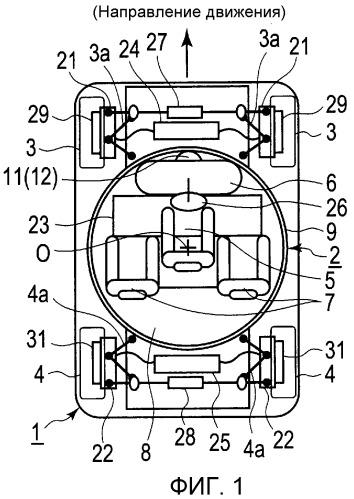 Тормозное оборудование транспортного средства с сиденьем водителя, направление которого является изменяемым