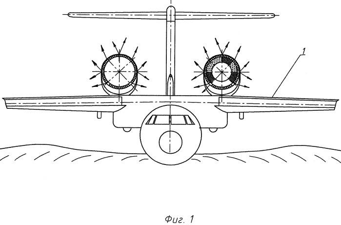 Устройство реверса-нейтрализатора тяги двухконтурного турбореактивного двигателя самолета-амфибии