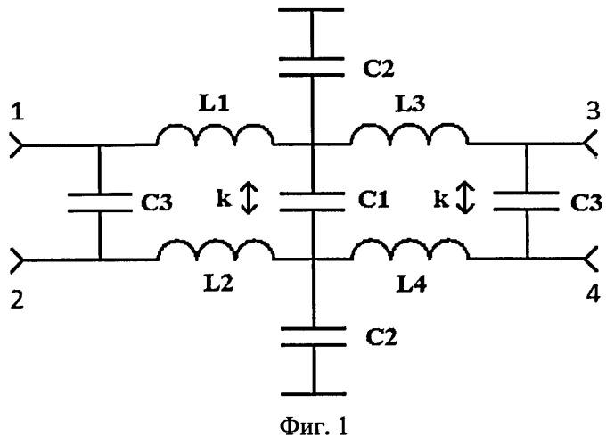 Миниатюрный широкополосный квадратурный направленный ответвитель на элементах с сосредоточенными параметрами