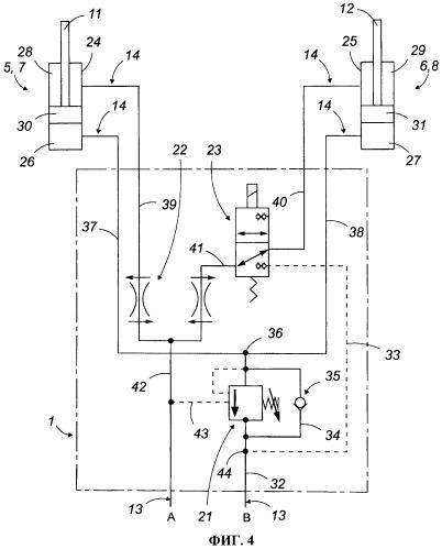 Гидравлический узел питания и регулировки для подъемного устройства с двумя опорами с независимыми приводами, действующими одновременно