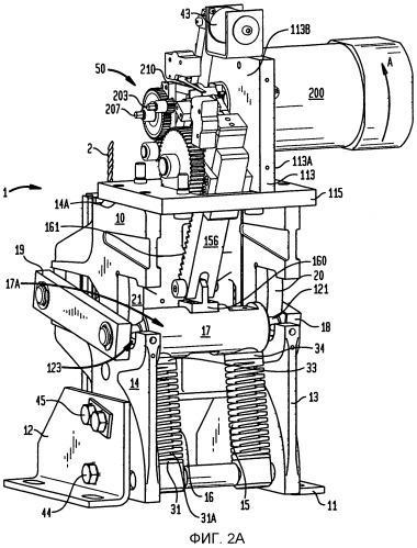 Тормоз кабины лифта с колодками, приводимыми в действие пружинами, соединенными с зубчатым приводом