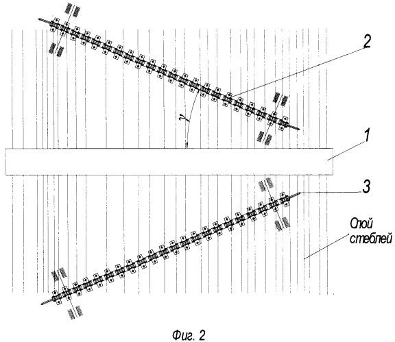 Устройство для прочеса слоя стеблей льна-долгунца