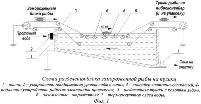 Способ и устройство для разделения брикета замороженной рыбы на тушки без оттаивания