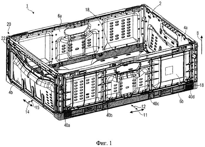 Ящик, имеющий складные боковые стенки и механизм блокировки с защитой от перегрузки