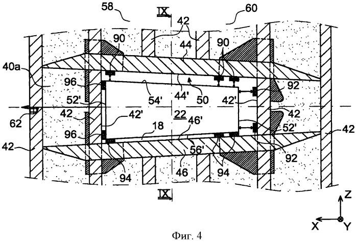 Хвостовая часть летательного аппарата, содержащая конструкцию крепления двигателей, связанную с фюзеляжем через по меньшей мере один работающий на сжатие элемент блокировки