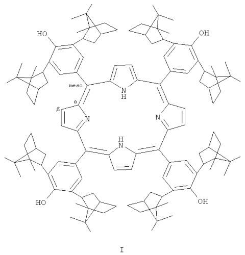 Тетра-(мезо-арил)-порфирин с диизоборнилфенольными заместителями в макроцикле