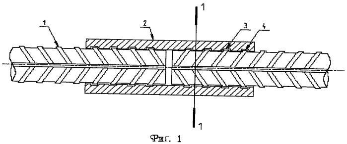 Узел соединения арматурных стержней периодического профиля