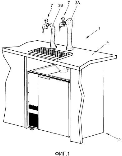 Устройство для выпуска жидкости, охлаждающее устройство с двумя теплообменниками и способ формирования устройства для выпуска жидкости или охлаждающего устройства