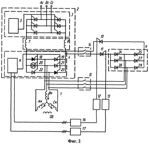 Устройство для частотного пуска и регулирования скорости высоковольтного синхронного электродвигателя