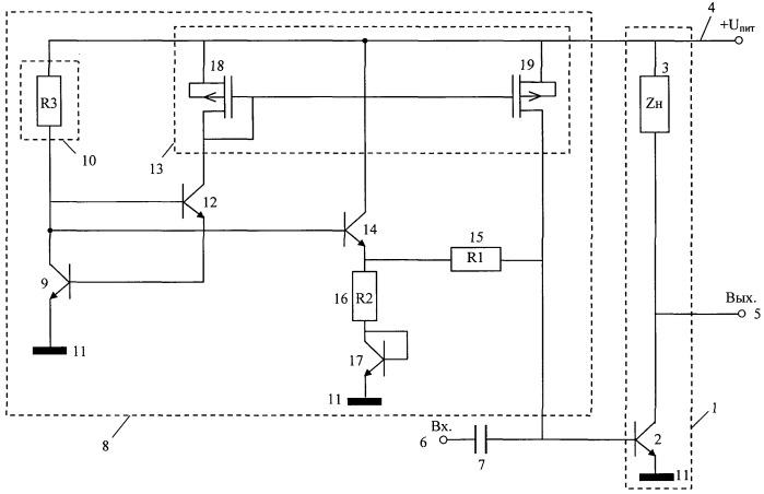 Высокочастотный усилитель с устройством стабилизации тока коллектора гетероструктурного биполярного транзистора