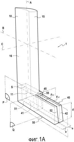 Направляющая лопатка вентилятора, выполненная из трехмерного композиционного материала