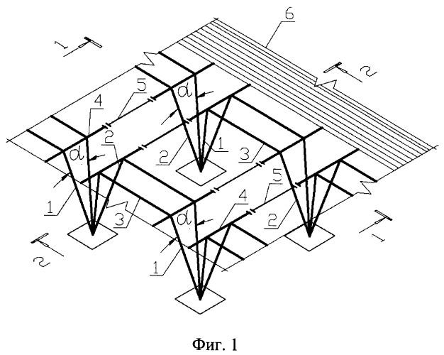 Металлический каркас одноэтажного многопролетного здания