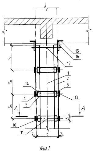 Распорка для усиления колонны здания