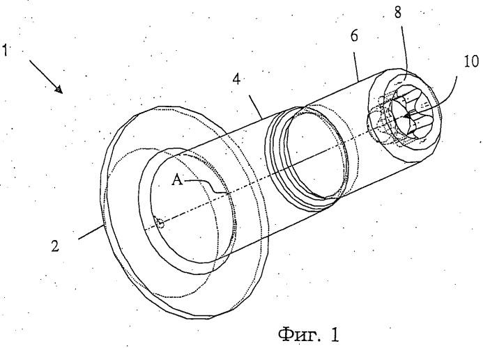 Крепежное средство с торцевой полостью в резьбовой концевой части, охватываемый элемент, рабочий инструмент и шаблон, содержащие такой охватываемый элемент