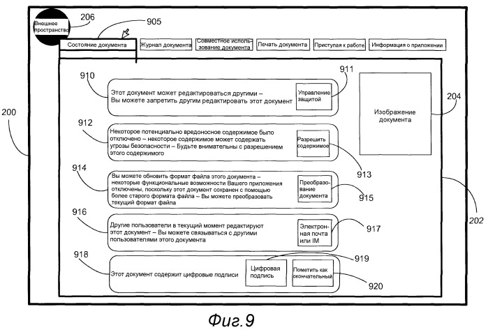 Представление функций, не относящихся к авторской разработке, посредством информации о состоянии документа в пользовательском интерфейсе внешнего пространства