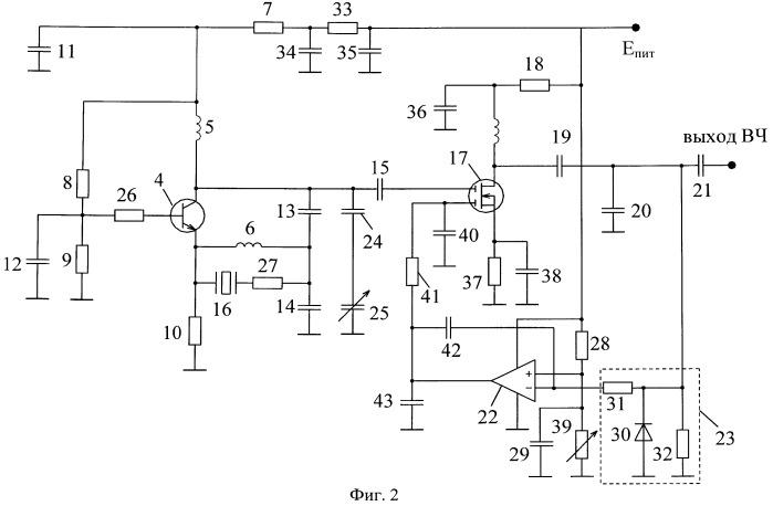 Малошумящий кварцевый генератор с автоматической регулировкой усиления