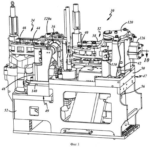Устройство для открывания и закрывания форм в стеклоформующей машине