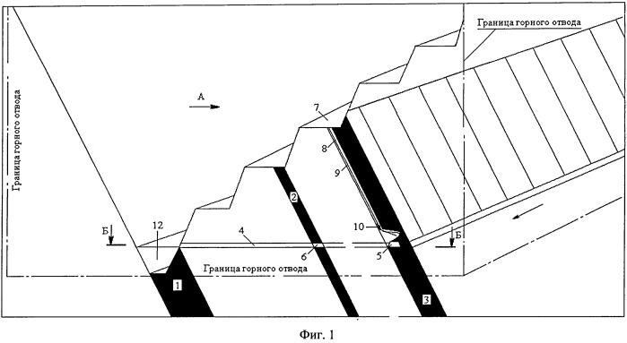Способ открыто-подземной разработки крутых угольных пластов