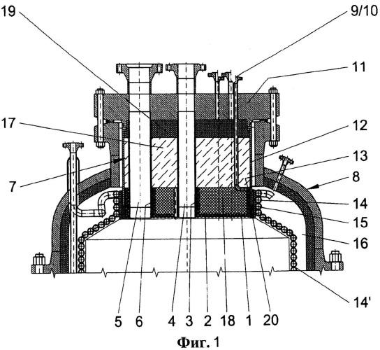 Устройство для крепления горелок с системой охлаждения для установки с горелками в газогенераторе с газификацией в потоке