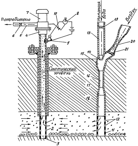 Водозаборная скважина с отбором подземной воды