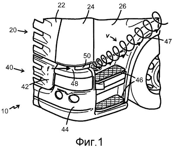Воздушный дефлектор с вихревым генератором и грузовое транспортное средство, снабженное воздушным дефлектором