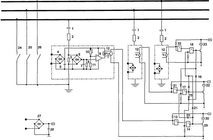 Устройство обнаружения и защитного заземления фазы электрической сети с изолированной нейтралью