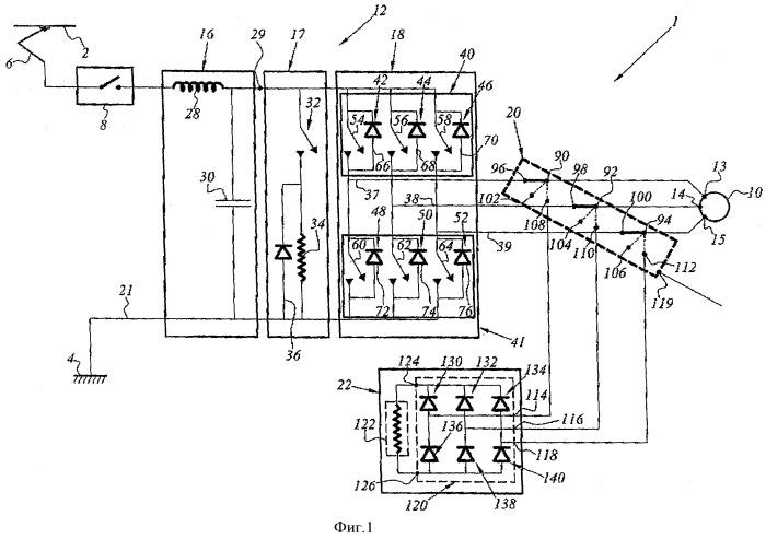 Устройство аварийного реостатного торможения с двухполюсным резистивным узлом и с приводом на постоянных магнитах