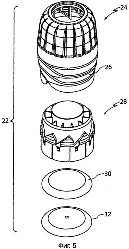 Крышка с расположенными под углом скошенными поверхностями на внутренней и внешней частях