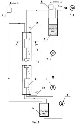 Электролизер для получения водорода и кислорода из воды