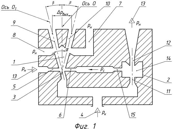 Струйное устройство для измерения отношения абсолютных давлений