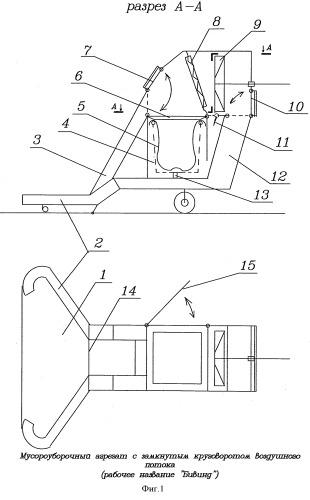 Мусороуборочный агрегат с замкнутым круговоротом воздушного потока (рабочее название бивинд)