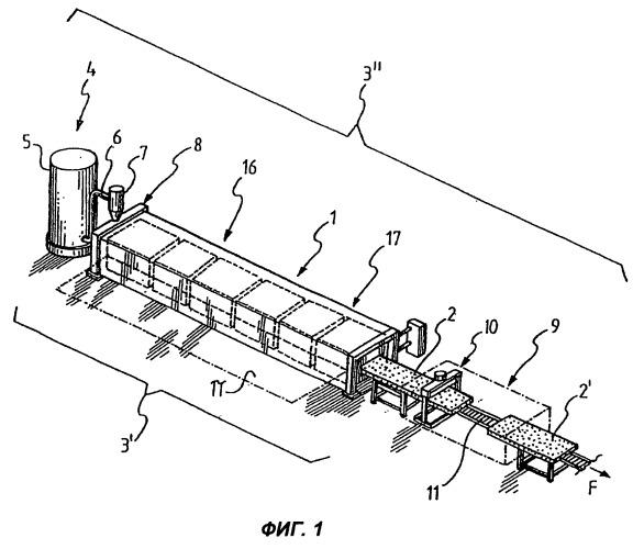 Устройство и способ непрерывного формирования протяженного элемента, изготовленного из пенопласта, установка, содержащая указанное устройство, и конструктивный элемент, изготовленный из пенопласта