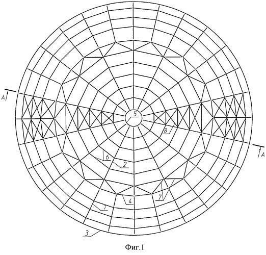 Конический ребристый купол покрытия вертикального цилиндрического резервуара