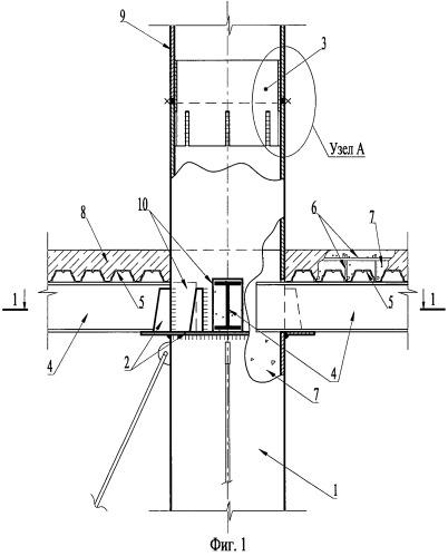 Способ наращивания трубобетонных колонн и их сопряжения с перекрытиями